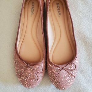 New Soda Blush Pink Ballet Flats Size 10